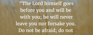 "Deuteronomy 31:8: ""The Lord himself goes before you and will be with you; he will never leave you nor forsake you. Do not be afraid; do not be discouraged."""
