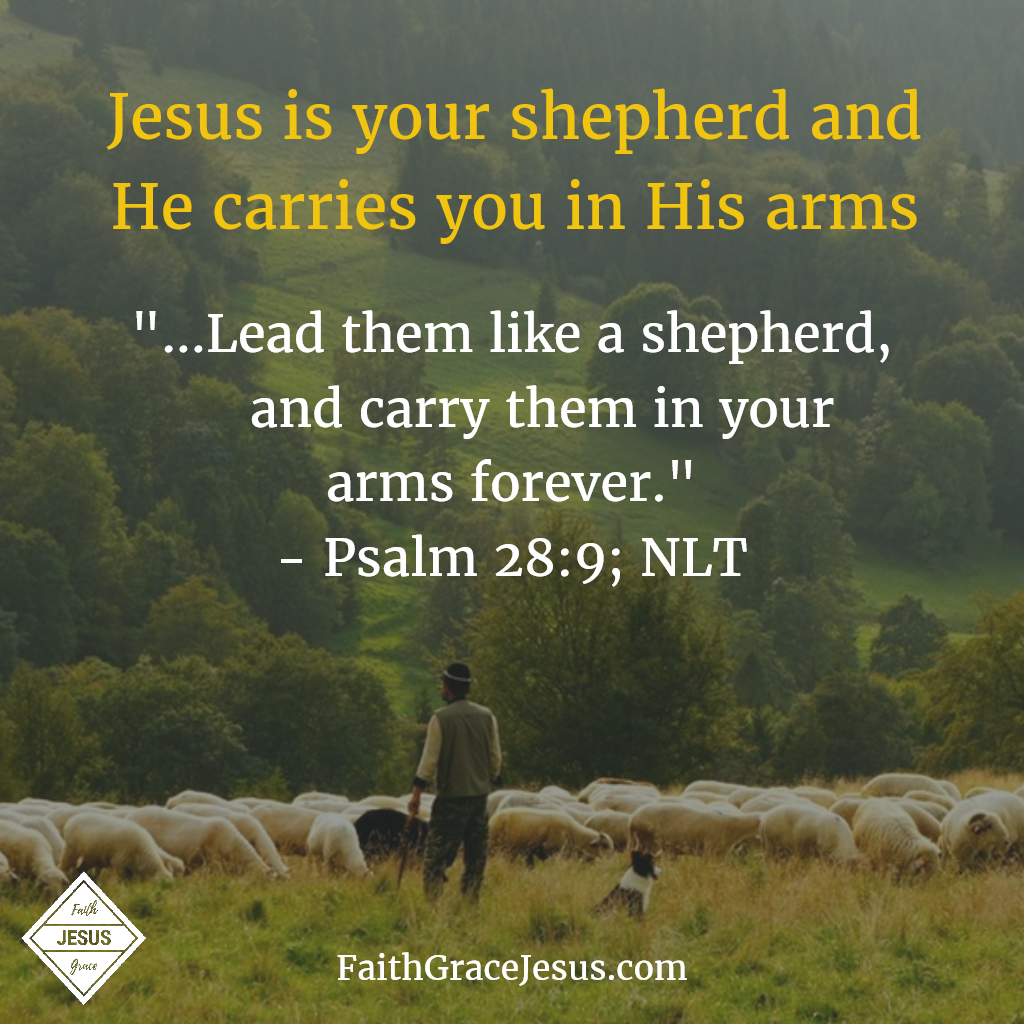 Psalm 28:9: Lead them like a shepherd, and carry them in your arms forever.