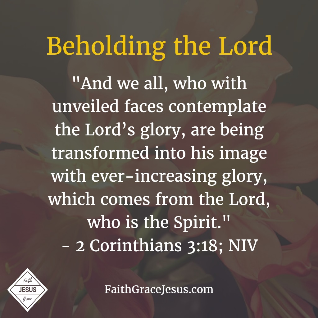 "2 Corinthians 3:18: ""And we all, who with unveiled faces contemplate the Lord's glory, are being transformed into his image with ever-increasing glory, which comes from the Lord, who is the Spirit."""