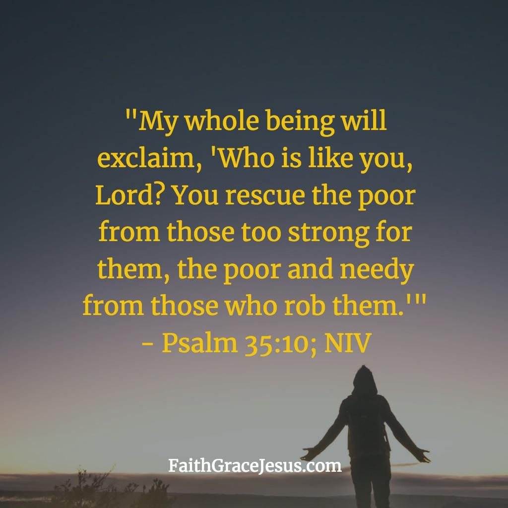 What is God like? - Psalm 35:10 (NIV)