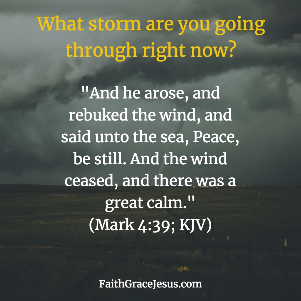 Jesus calms the storm - Mark 4:39 (KJV)