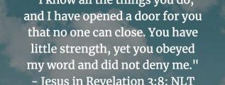 Revelation 3:8 (NLT)